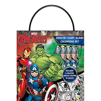 Marvel Avengers Bumper Carry Along Colouring Set with Wax Crayons