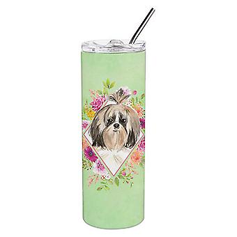 Shih Tzu Green Flowers Double Walled Stainless Steel 20 oz Skinny Tumbler