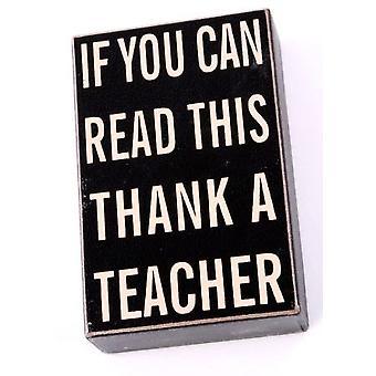 Thank a Teacher Wooden Block with Hanger