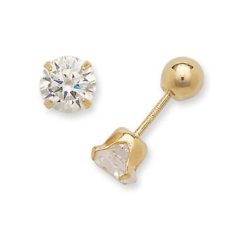 14k Yellow Gold Hollow Prong set Screw back Post Earrings Polished Reversible 5mm CZ Cubic Zirconia Simulated Diamond an