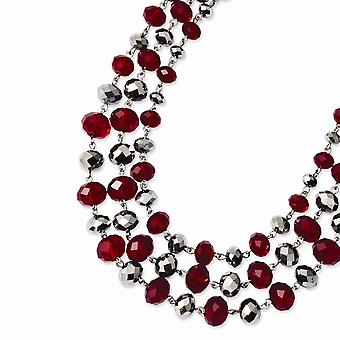 Silver tone Fancy Lobster Closure Red and Grey Epoxy Stones 16inch With 3in Ext Necklace Jewelry Gifts for Women