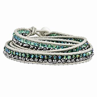 Grünen Aurora Borealis und grau Kristall Perle Multi-Wickel-Lederarmband