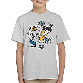 Popeye Brutus Fight Kid's T-Shirt