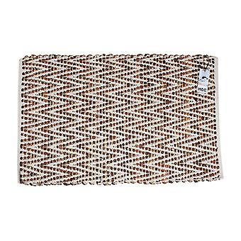 Cotton Leather Hand Knit Rug Chevron 60 X 90 Cm
