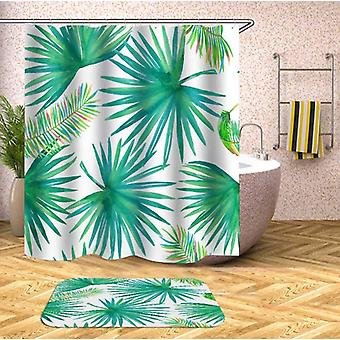 Green And Rainbow Colored Palm Leaf Shower Curtain