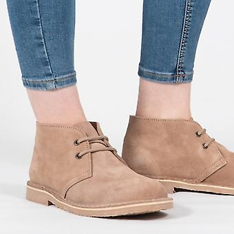 Roamers Macie Ladies Suede Leather Desert Boots Taupe