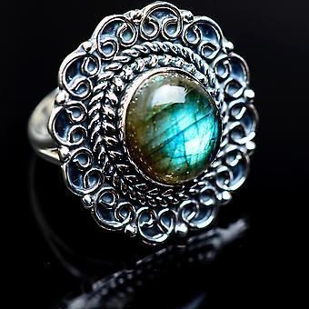 Grande taille d'anneau labradorite 7 (925 Sterling Argent) - Bijoux boho Vintage à la main RING982927