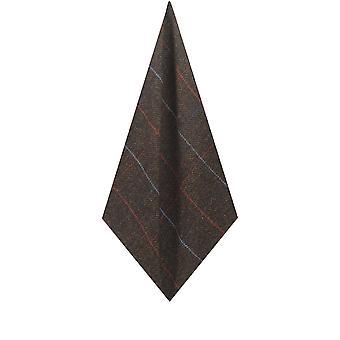 Dobell Mens Brown Windowpane Check Tweed Pocket Square Handkerchief Wool Blend