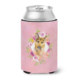 German Shepherd #2 Pink Flowers Can or Bottle Hugger