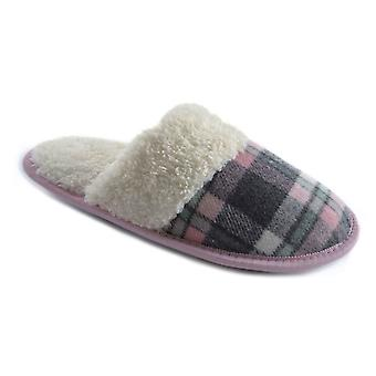 SlumberzzZ Womens Fleece Lined Plaid Check Mule Slippers