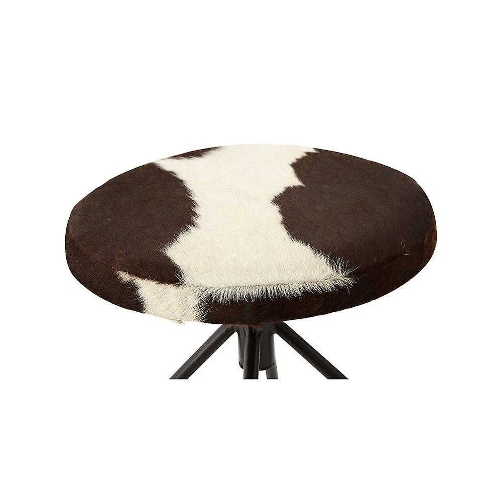 Fusion Living Upholstered Cowhide Industrial Bar Stool
