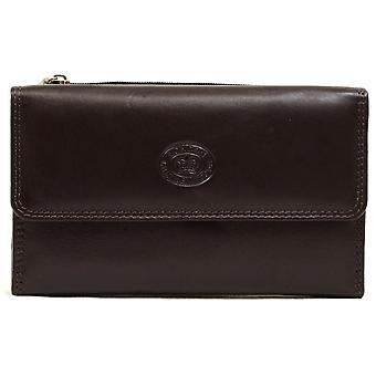 Donna / Womens Leather Borsa Slim con apertura magnetica Popper - rosso scuro