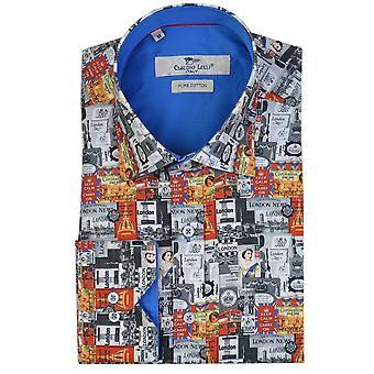 Клаудио Lugli Лондон тематические печати Мужская рубашка