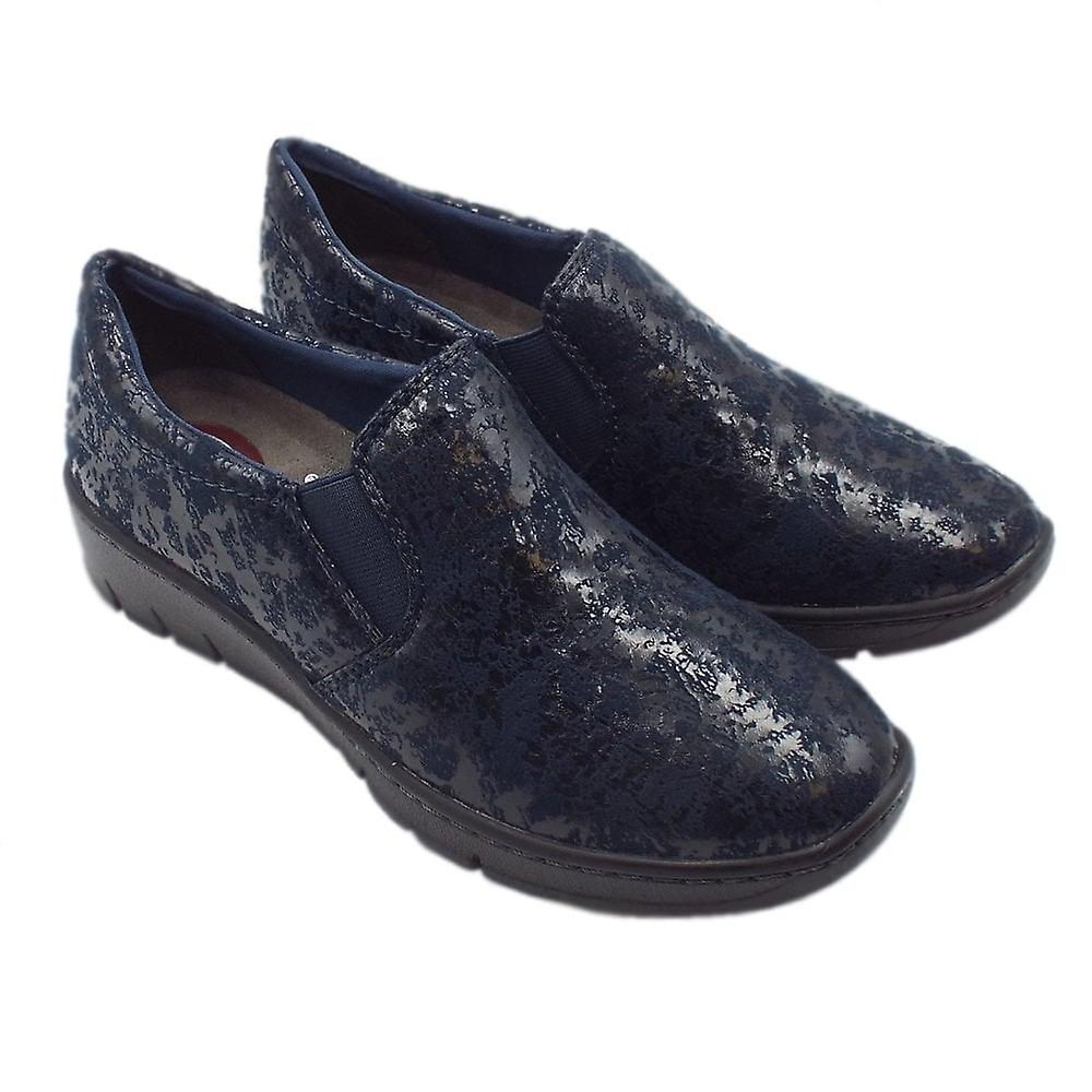 Jana 24701 Angus Modern Wide Fit Fabric Loafer In Navy