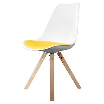 Fusion Living Eiffel Inspired White And Yellow Dining Chair With Square Pyramid Light Wood Legs