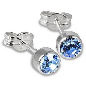 Sterling Silver Cubic Zirconia Unisex Stud Earrings 2 Carat - Light Blue