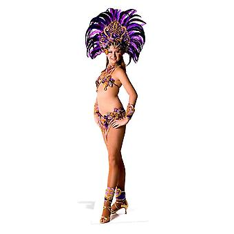 Carnival Purple Peacock Feathers Babe Lifesize Cardboard Cutout / Standee / Stand Up