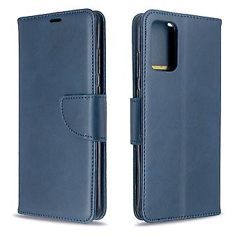 For Samsung Galaxy S20+ Plus Case, Retro PU Leather Wallet Cover with Stand & Lanyard, Blue