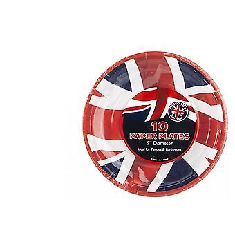 """Union Jack Wear Union Jack 9"""" Paper Party Plates - 10 Pack"""