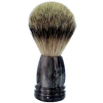 Gold roof shaving brush with badger plucked hair plastic handle grey