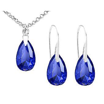 اه! مجوهرات الجنيه الاسترليني الفضة مهيب بلورات الكمثرى الزرقاء من سواروفسكي الأسماك هوك ومجموعة الأقراط، ختم925