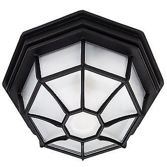 Traditional Hexagonal Matt Black Flush Ceiling Porch Light Fitting with Glass