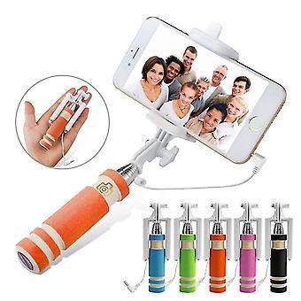 Samsung Galaxy S20 Orange Mini Monopod Selfie Stick ingebouwd op afstand sluiter