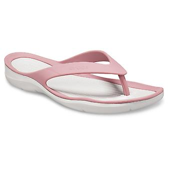 Crocs Womens Swiftwater Flip Slip On Cassis/Pearl White