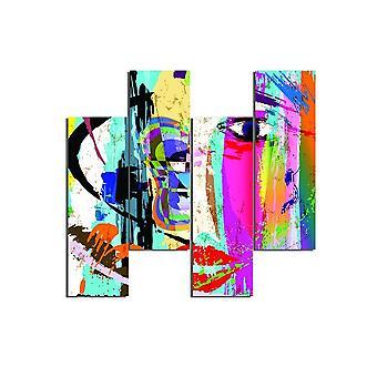 Wielokolorowe malowanie nimfy w MDF, L19xP0.3xA50 cm (4 sztuki)
