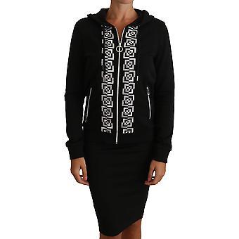 Versace Jeans Black Silver Logo Hoodie Zip Sweater