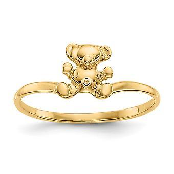 14k Ouro Amarelo Sólido Não graveável para meninos ou meninas Polido Anel de Ursinho de Pelúcia Tamanho 3 - 1,2 Gramas
