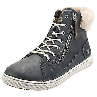 Mustang High Top Side Zip Sneaker Womens Fashion Trainers in Navy