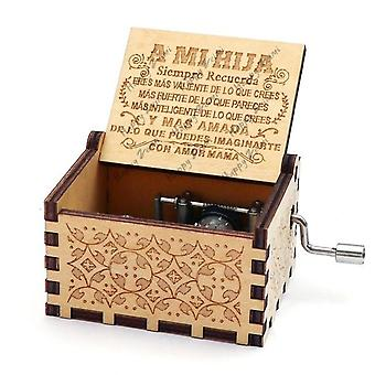A Mi Hija  Antique Carved Hand Cranked 18 Tones Wooden Music Box