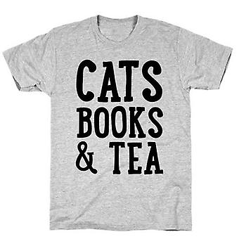 Cats books and tea t-shirt