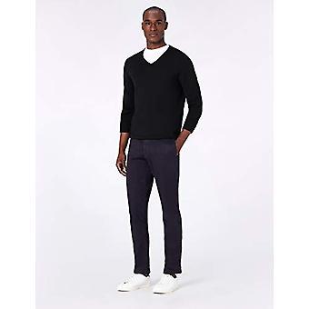 MERAKI Men's Fine Merino Wool V-Neck Jumper, Grey (Charcoal Marl), XXL (US XL)