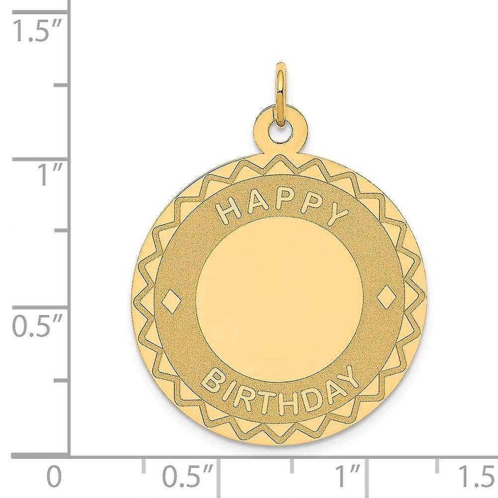 14 k Gelbgold solide facettiert poliert flach zurück gravierbare Laser geätzt alles Gute zum Geburtstag Charme Anhänger Halskette Maßnahmen