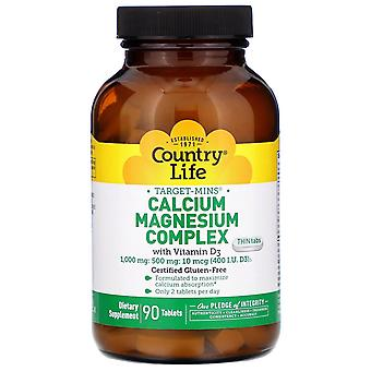 Country Life, Target-Mins Calcium Magnesium Complex with Vitamin D3, 90 Tablets