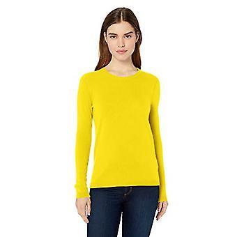 Lark & Ro Frauen's Crewneck Pullover Kaschmir Pullover, Zitrone, X-Large