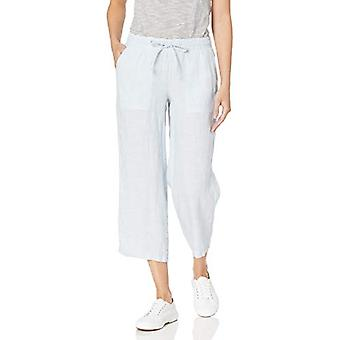 Essentials Womenăs Solid Strundring Linen Crop Pant, Albastru deschis, M