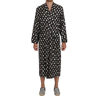 Dolce & Gabbana Gray Instrument Print Silk Robe TSH1184-2