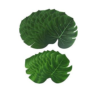 Artificial Monstera Fake Green Leaf 12PCS 13inch + 12PCS  8inch