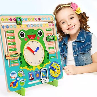 Montessori Drewniane Zabawki Baby, Pogoda Sezon Kalendarz Zegar Zegar Poznanie
