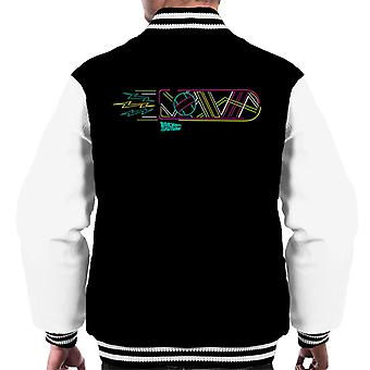 Back to the Future Neon Hoverboard Outline Men's Varsity Jacket