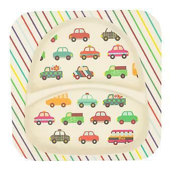 Tiny Dining Children's Bamboo Fibre Dining Plate - Voitures