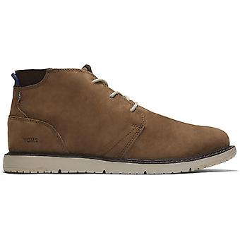 TOMS Navi Mens Leather Ankle Boots Brown