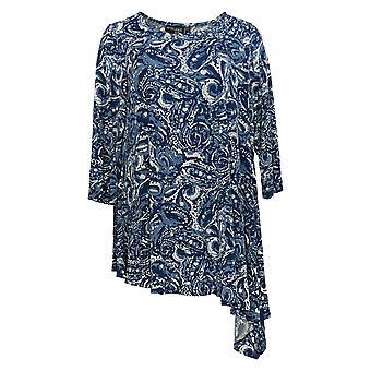 Women With Control Women's Top Paisley Print Asymmetric Hem Blue A353109