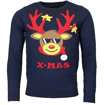 Unisex Xmas jul rensdyr jumper strikket sweater