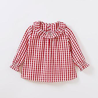 Baby Girls Blouses Peter Pan Collar Cotton Shirt Long Sleeve