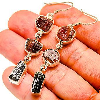"Rough Pink Tourmaline, Chrome Diopside Earrings 2 1/2"" (925 Sterling Silver)  - Handmade Boho Vintage Jewelry EARR407550"