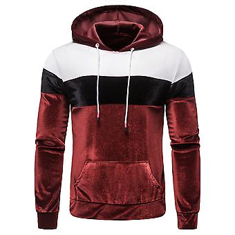 YANGFAN Men's Color Block Velvet Pullover Hoodie Casual Sweater